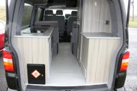 VOLKSWAGEN T5 MEDIUM HIGH ROOF, LWB,  2 SINGLES OR ONE HUGE TRIPLE, REAR KITCHEN AND TOILET ALCOVE