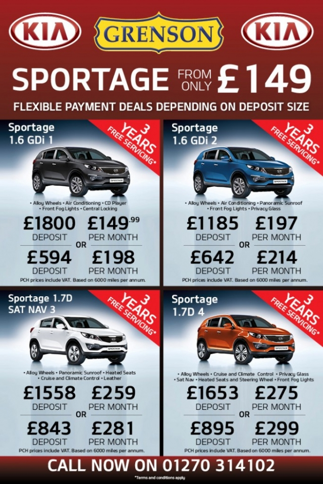 KIA Sportage from only £149 at Grenson KIA